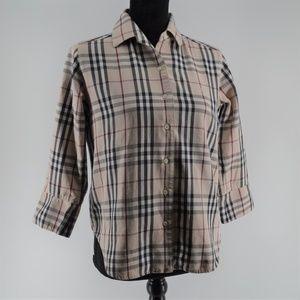 Burberry Nova Check Tan Plaid Button Down Shirt